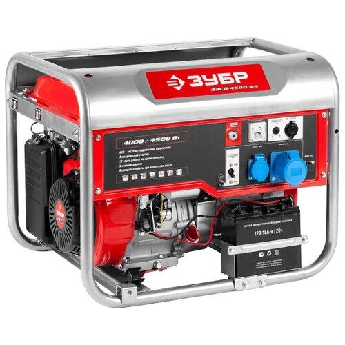 Бензиновый генератор ЗУБР ЗЭСБ-4500-ЭА (4000 Вт) генератор бензиновый зубр зэсб 4000 э
