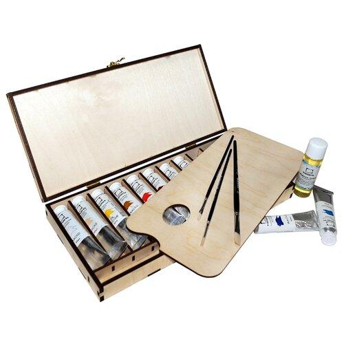 Купить Малевичъ Масляные краски 10 цветов х 40 мл в деревянной корбке (830200), Краски