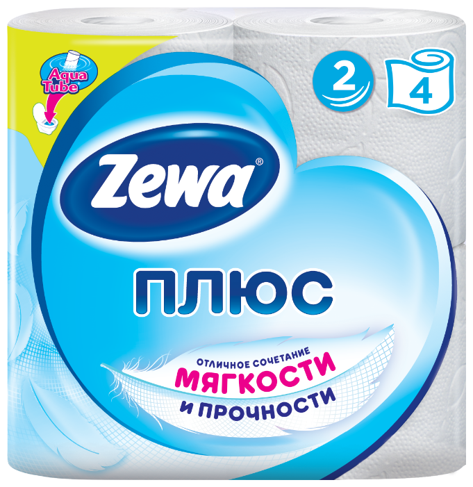 Туалетная бумага Zewa Плюс Белая двухслойная, 4 рул.