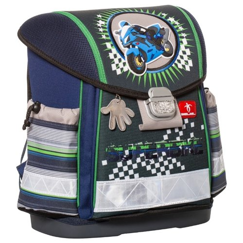 Belmil Ранец Classy Super Bike (403-13/417), темно-синий/зеленый/серый, Рюкзаки, ранцы  - купить со скидкой