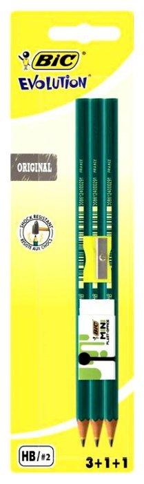 BIC Набор чернографитных карандашей Evolution 650 с точилкой и ластиком 3 шт (942081)