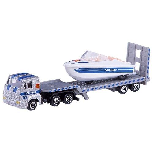 Купить Набор машин ТЕХНОПАРК КамАЗ Автотранспортер полицейский с лодкой (SB-16-30-P) серый/белый/синий, Машинки и техника