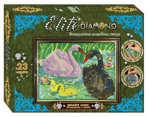 Лапландия Набор алмазной вышивки Картина из страз Elite Diamond Лебеди (45689) 21х30.5 см