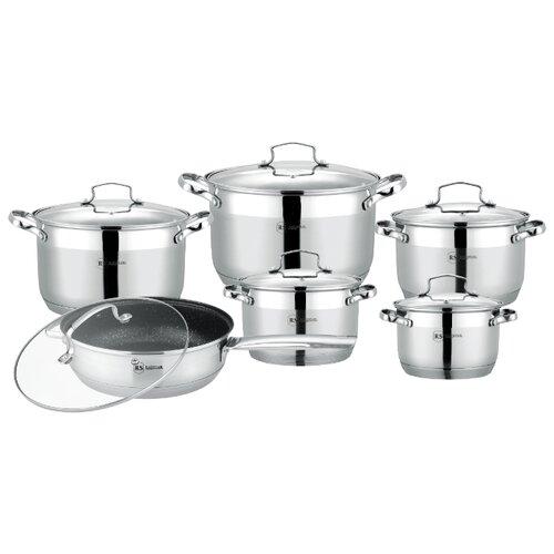 Купить со скидкой Набор посуды Rainstahl 1855-12RS/CW МRB 12 пр. стальной