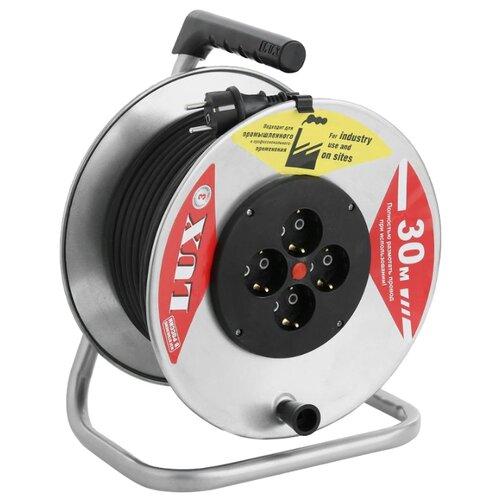 Удлинитель на катушке силовой LUX 4 розетки 30м 44130 16А IP20 с/з