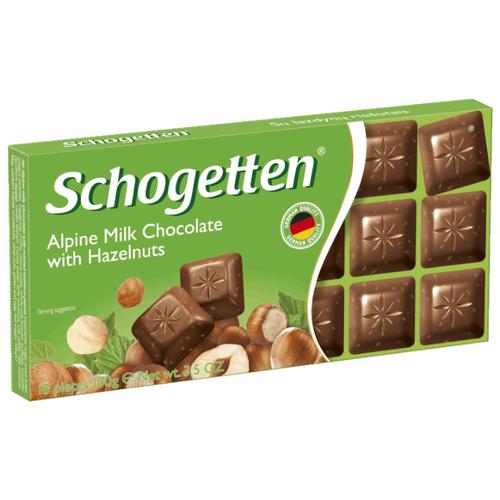 Шоколад Schogetten Alpine Milk Chocolate with Hazelnuts альпийский молочный с фундуком порционный, 100 г