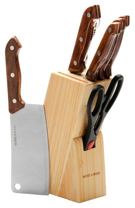 Набор MAYER & BOCH 5 ножей, ножницы и мусат с подставкой 394 / 395 / 396 / 480 / 509 светло-коричневый