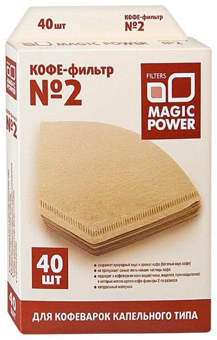 Одноразовые фильтры для капельной кофеварки Magiс Power Неотбеленные Размер 2