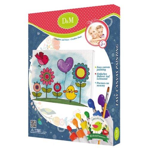 Купить D&M Картина по контурам Цветы и птицы 18х24 см (60762), Картины по номерам и контурам