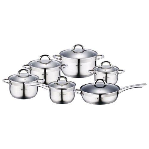 Набор посуды Rainstahl 1218-12RS/CW 12 пр. стальной набор посуды rainstahl с антипригарным покрытием 12 предметов цвет белый 1855 12rs cw мrb