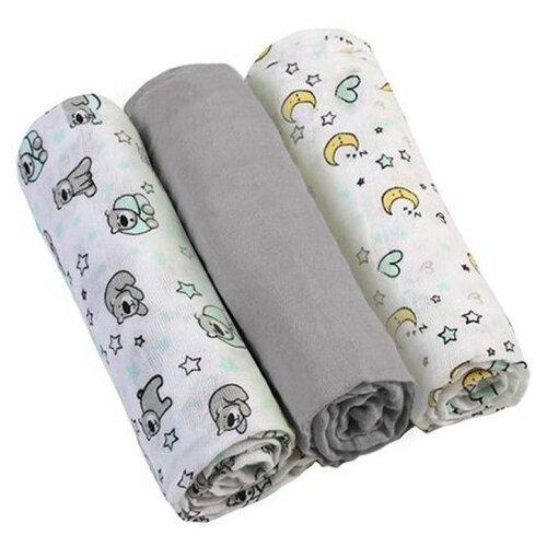 Купить Многоразовые пеленки BabyOno супермягкие муслин 70х70 комплект 3 шт. серый/белый, Пеленки, клеенки