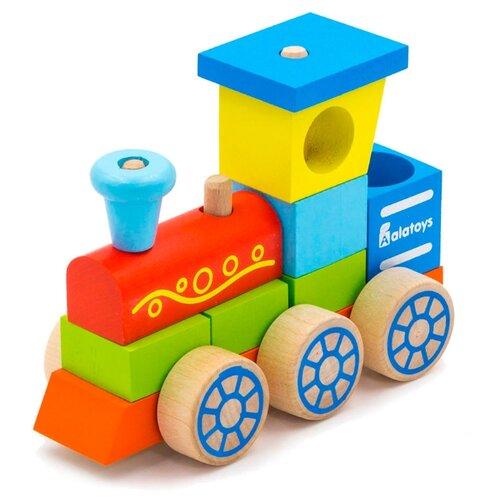 Каталка-игрушка Alatoys Паровоз (ККП01) красный/голубой/зеленый/желтый игрушка eichhorn паровоз электронный 100001303