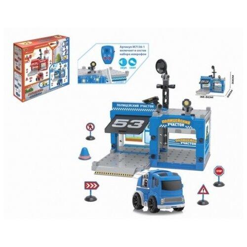 Купить Shantou Gepai Игровой набор Полицейский участок M7136-1 голубой/серый, Детские парковки и гаражи