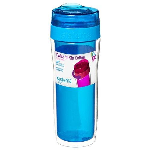 Термокружка Sistema Twist'n'Sip Coffee To Go (0,49 л) blue контейнер для продуктов sistema to go triple split 2л blue 20920