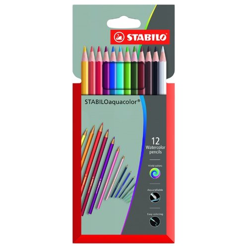 Купить STABILO Акварельные карандаши Aquacolor 12 цветов (1612-3), Цветные карандаши