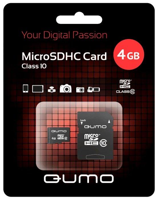 Карта памяти Qumo microSDHC class 10 4GB + SD adapter