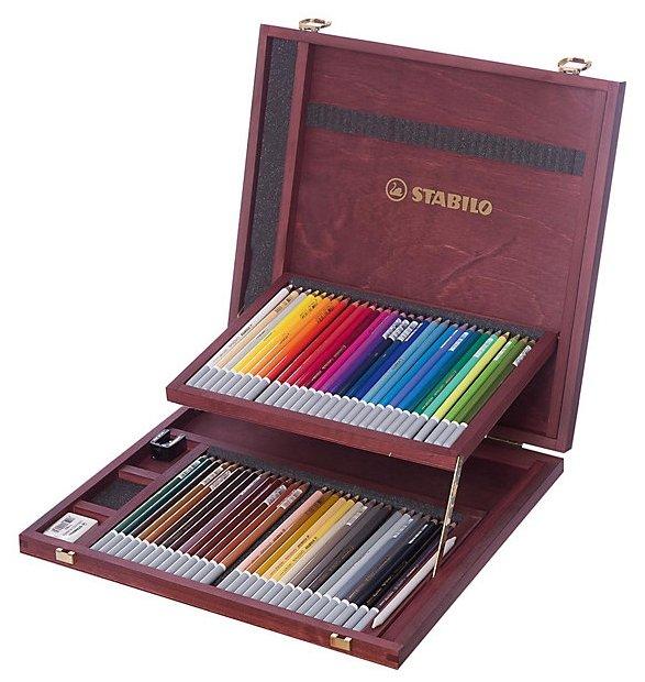 Пастельные карандаши Stabilo CarbOthello, 60 цветов, ластик, точилка, растушевка STABILO 1460-1