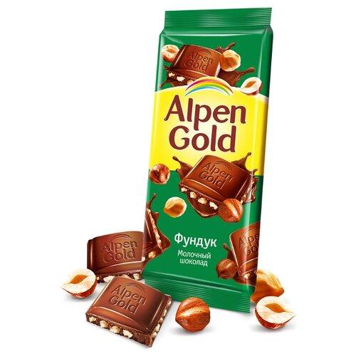 Шоколад Alpen Gold молочный с фундуком 25% какао, 90 г