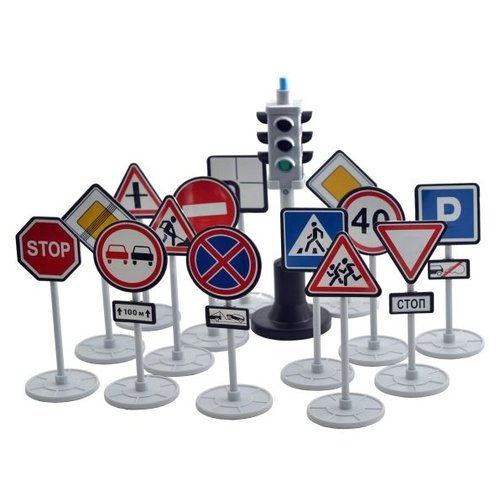 Форма Игровой набор Светофор с дорожными знаками С-159-Ф красный/голубой/серый/желтыйДетские парковки и гаражи<br>