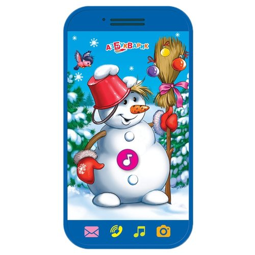 Интерактивная развивающая игрушка Азбукварик Мини-смартфончик Весёлый снеговик синий азбукварик смартфончик мои сказочки широкий