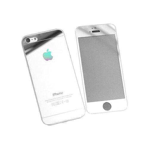 Защитное стекло CaseGuru зеркальное Front & Back для Apple iPhone 4/4S Logo silver защитное стекло caseguru для apple iphone 6 6s silver logo
