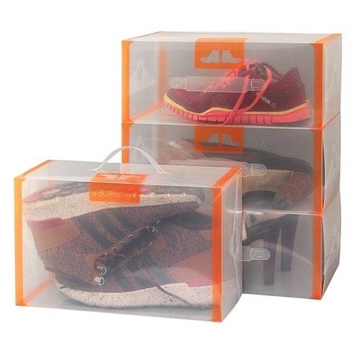 EL CASA Набор коробок для хранения обуви 21х35х14 см оранжевый/прозрачный цена 2017
