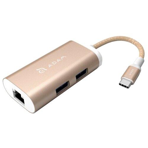 USB-концентратор Adam Elements CASA Hub eC301, разъемов: 3, золотой