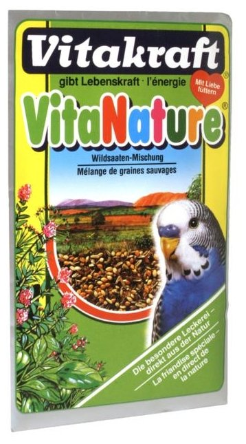 Добавка в корм Vitakraft для волнистых попугаев VitaNature с семенами луговых трав