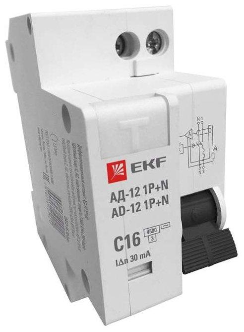 Выключатель автоматический диф. тока 1п+N C 63А 30мА тип АС эл. 4.5кА АД-12 Basic EKF DA12-63-30-bas