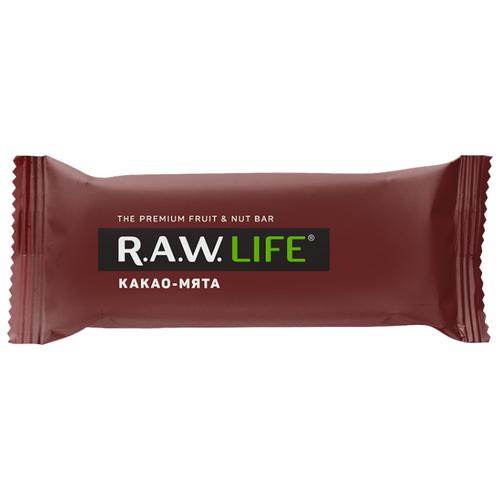 Фруктовый батончик R.A.W. Life без сахара Какао-Мята, 47 г фруктовый батончик r a w life без сахара макадамия 47 г