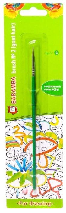 Кисть BARAMBA коза №2, круглая, с длинной ручкой (B82002)