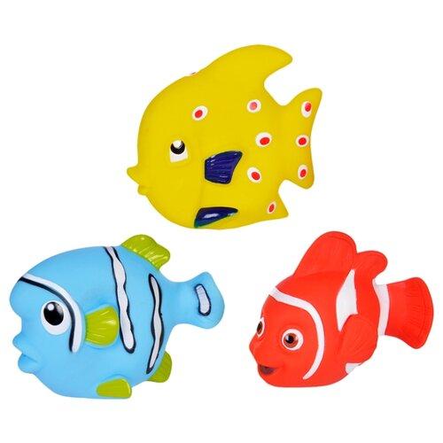 Купить Набор для ванной Жирафики Морские рыбки (68860) желтый/красный/голубой, Игрушки для ванной