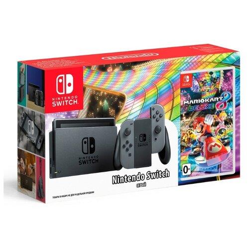 Игровая приставка Nintendo Switch серый + Mario Kart 8 DeluxeИгровые приставки<br>