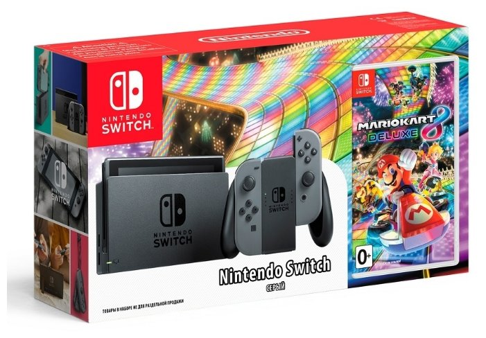 Игровая приставка Nintendo Switch серый + Mario Kart 8 Deluxe