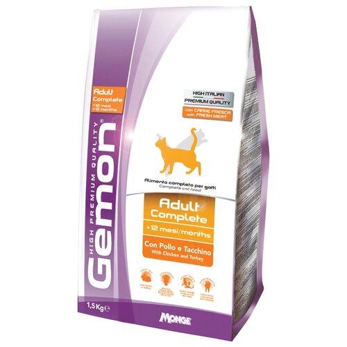 Корм для кошек Gemon Cat Adult Complete с курицей и индейкой (1.5 кг)Корма для кошек<br>