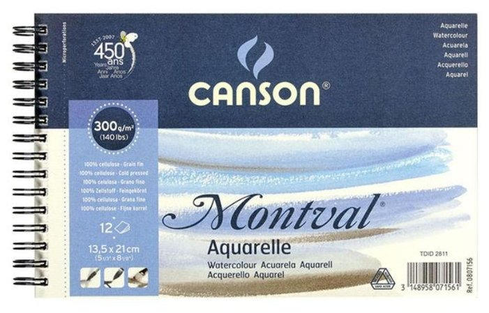 Альбом для акварели Canson Montval 13.5 х 21 см, 300 г/м², 12 л.