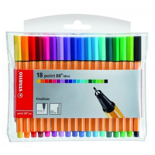 Купить STABILO Набор капиллярных ручек point 88 Mini 18 цветов, 0.4 мм (688/18-1), Ручки