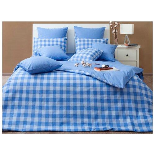 Постельное белье семейное Хлопковый Край Иллюзии Дерби бязь синий/голубой/белыйКомплекты<br>