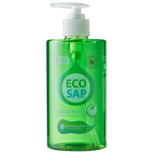 Жидкое мыло БиоМикроГели EcoSap с ароматом зеленого яблока 460 мл с дозаторомМыло<br>