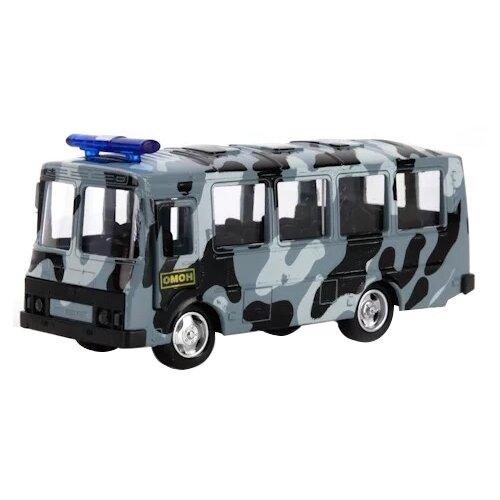 Купить Автобус ТЕХНОПАРК ПАЗ 3206 ОМОН (X600-H09136-R) 10.5 см серый камуфляж, Машинки и техника