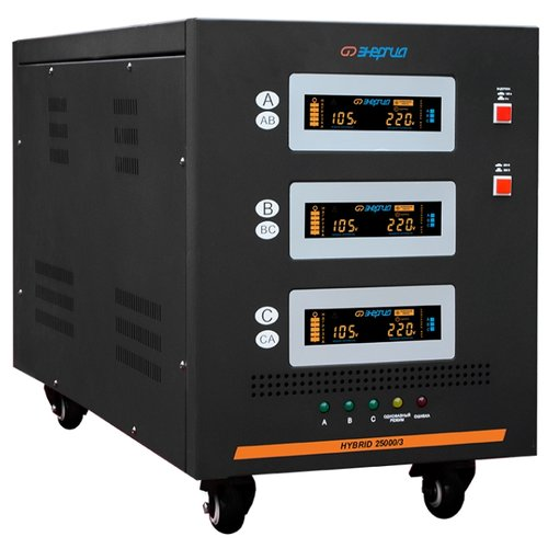Стабилизатор напряжения трехфазный Энергия Hybrid 25000/3 II черный фото