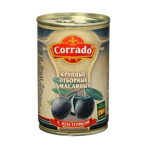 Corrado Маслины крупные отборные с косточкой в рассоле, жестяная банка 300 гМаслины, оливки, каперсы консервированные<br>