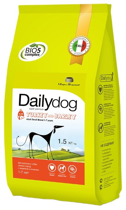 Корм для собак Dailydog Adult Small Breed Turkey and Barley