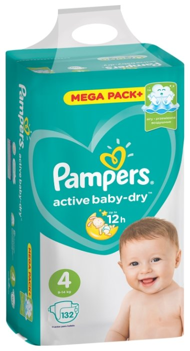Pampers подгузники Active Baby-Dry 4 (9-14 кг) 132 шт.