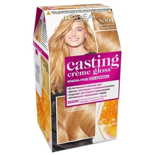 L'Oreal Paris Casting Creme Gloss стойкая краска-уход для волос, 8304, Карамельный капучино карамельный цвет волос матрикс