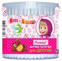 Ватные палочки Premial Маша и Медведь для деточек 200 шт. банка