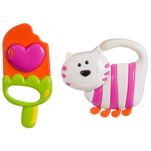 Купить Набор BONDIBON Мороженое и Кот белый/розовый/оранжевый, Погремушки и прорезыватели