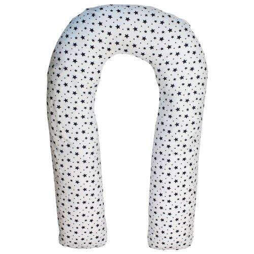 Подушка Body Pillow для беременных U холлофайбер, с наволочкой из хлопка белый в синих звездахПодушки и кресла для мам<br>