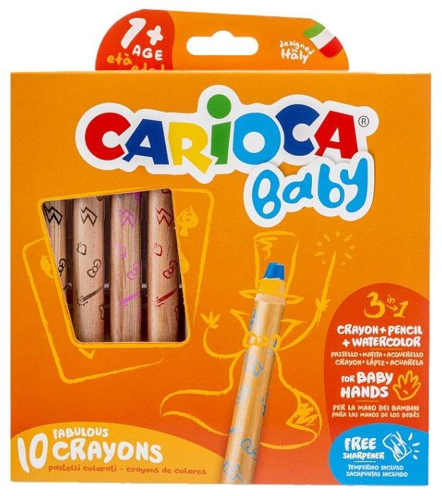 Carioca Восковые карандаши Baby, 10 шт + точилка