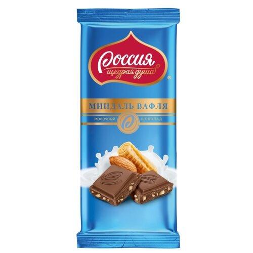 шоколад россия щедрая душа молочный пористый 82 г Шоколад Россия - Щедрая душа! молочный с миндалем и вафлей, 90 г